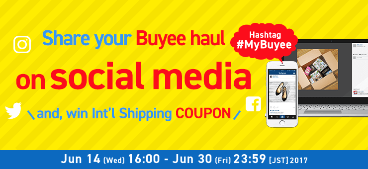 Social Media Giveaway 5 winners will be chosen from the participants randomly to receive 3,000 JPY off international shipping fee coupon!